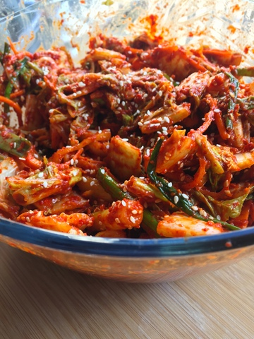 kimchi and paste mixed together