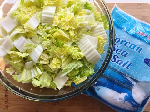 napa cabbage and korean sea salt